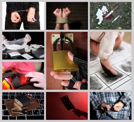 crime: Conceptual collage of crime Stock Photo