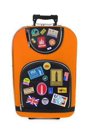 suitcase packing: Travel suitcase isolated on white Stock Photo