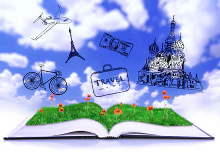 directory book: Open book with drawings on sky background