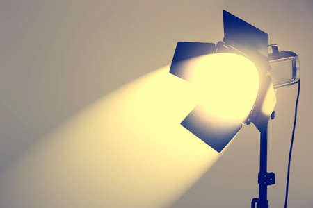 lighting background: Photo studio with lighting equipment on wall background