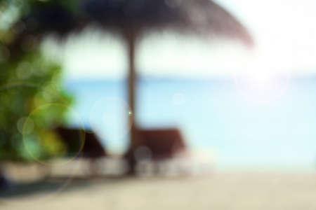 sunbeds: Sunbeds on beautiful beach in resort, blurred texture