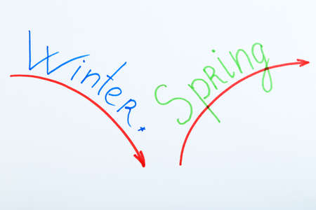 copy writing: Worlds Winter and Spring written on paper