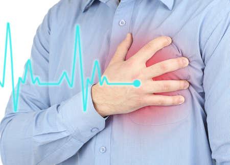 enfermedades del corazon: Hombre que tiene dolor en el pecho - ataque al corazón Foto de archivo
