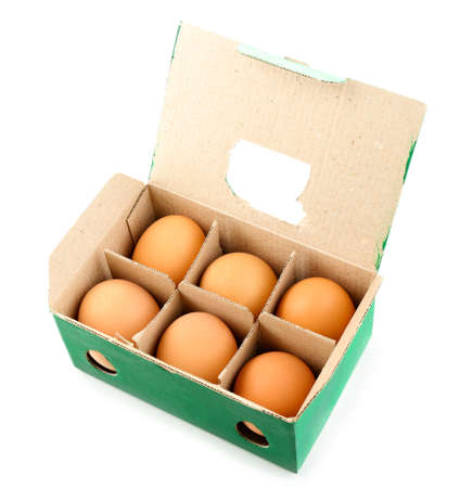 egg box: Egg box with six brown eggs isolated on white