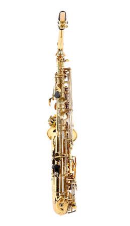 soprano saxophone: Saxofón de oro aislado en blanco