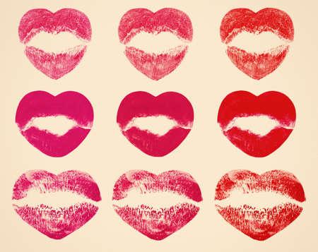 beige lips: Kissing lips in shape of hearts on beige