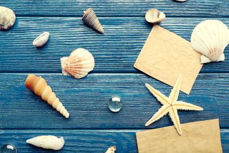 blanks: Card blanks with sea star and shells on wooden