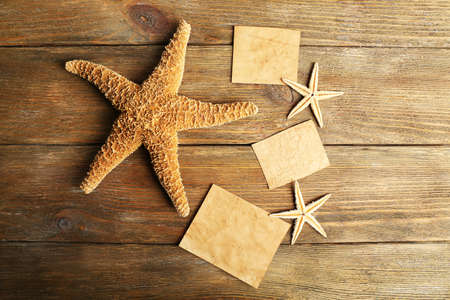 blanks: Card blanks with sea stars on wooden