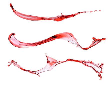 viscosity: Wine splashes isolated on white