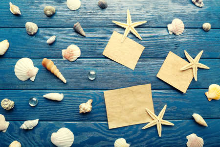 blanks: Card blanks with sea stars and shells on wooden