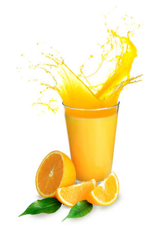 splash: Orange juice splashes isolated on white Stock Photo