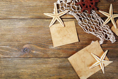 blanks: Card blanks with sea stars on wooden background