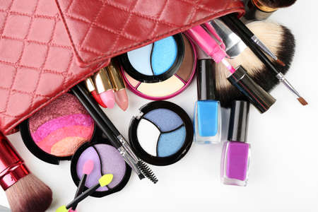 cosmetician: Different cosmetics in cosmetician close up