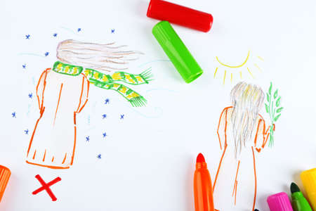 strikethrough: Figure winter and spring with marker on paper Stock Photo