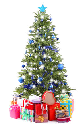 blue romance: Christmas tree and presents isolated on white Stock Photo