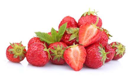 strawberry: Ripe strawberries isolated on white Stock Photo