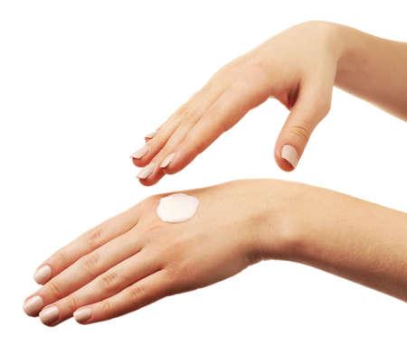 caring hands: Vrouw zorgzame handen met room geïsoleerd op wit