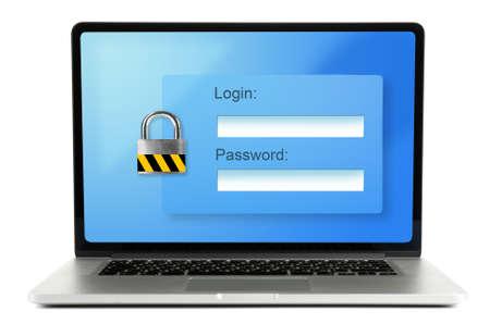 seguridad social: Contraseña en una pantalla de ordenador portátil - concepto de la seguridad informática