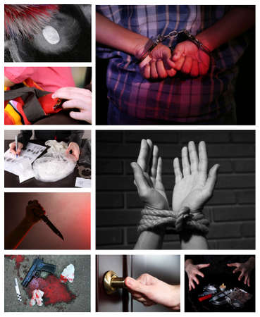 violent: Conceptual collage of crime Stock Photo