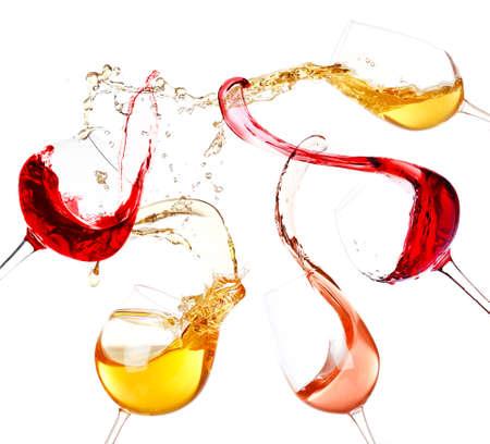 splashed: Wine splashes isolated on white