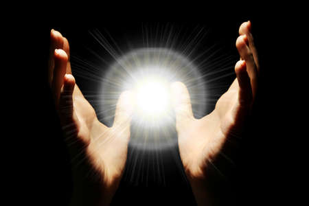 hand: Light in the human hands in the dark