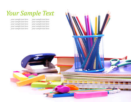 school supplies: School supplies isolated on white Stock Photo