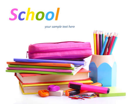 secondary school students: School supplies isolated on white Stock Photo