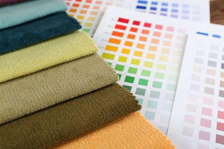 scraps: Scraps of colored tissue with palette close up
