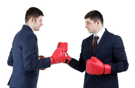 Two handsome businessmen with boxing gloves isolated on white Banque d'images