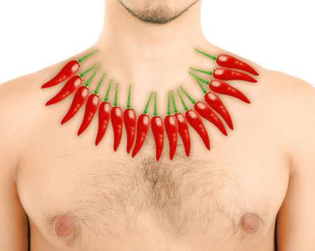 heartburn: Red hot peppers on mans body, Heartburn concept