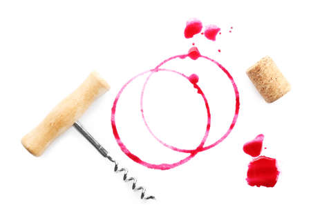 uncork: Wine stains, cork and corkscrew isolated on white Stock Photo