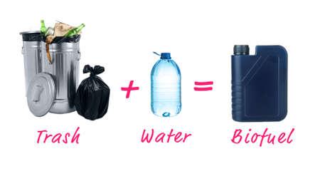 bio fuel: Trash plus water is bio fuel Stock Photo