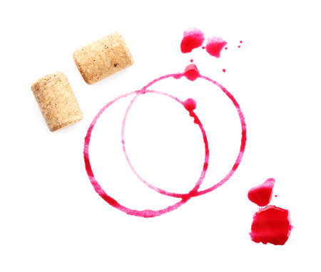 wine stains: Wine stains and corks isolated on white