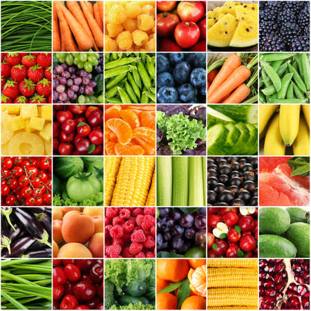 summer fruits: Collage with tasty fruits and vegetables Stock Photo