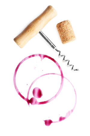 wine stains: Wine stains, cork and corkscrew  isolated on white Stock Photo
