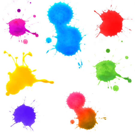 'paint splatter': Colorful splashes of paint isolated on white Stock Photo