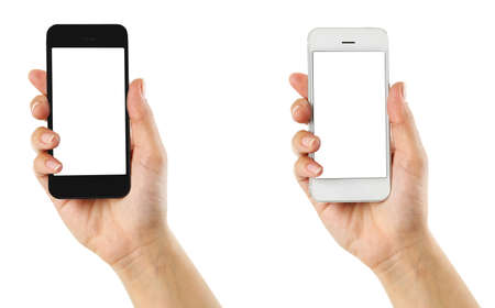 sexo femenino: Manos que sostienen los tel�fonos m�viles inteligentes, aislado en blanco Foto de archivo