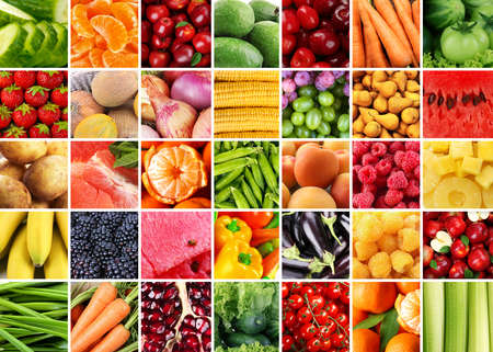 summer vegetables: Collage with tasty fruits and vegetables Stock Photo