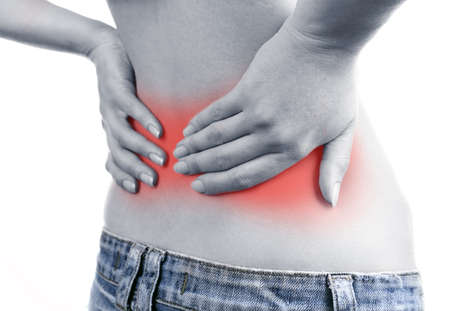 enhanced: Young girl with back pain close up