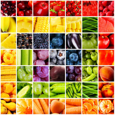 collage: Collage with tasty fruits and vegetables Stock Photo