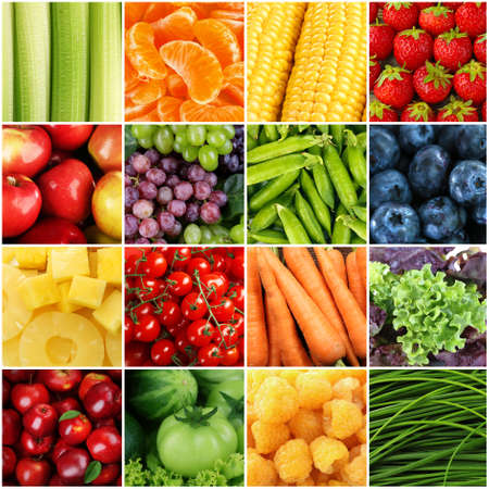 vegetables: Collage with tasty fruits and vegetables Stock Photo