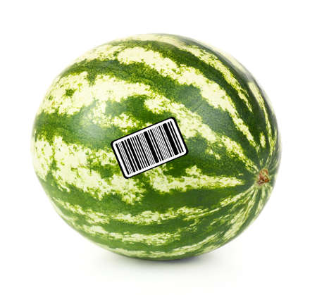 encode: Juicy watermelon with barcode isolated on white Stock Photo