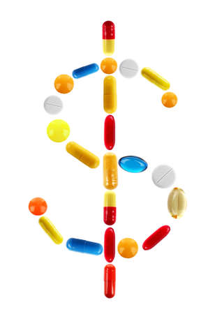 medical sign: Dollar sign made with pills isolated on white Stock Photo