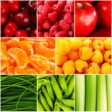 fruit market: Collage with tasty fruits and vegetables Stock Photo