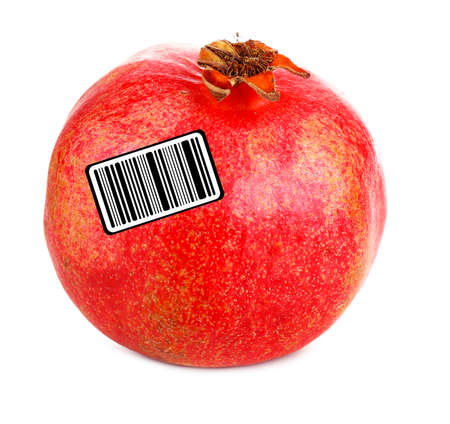 encode: Juicy ripe pomegranate with barcode, isolated on white Stock Photo