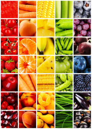 juice fresh vegetables: Collage with tasty fruits and vegetables Stock Photo