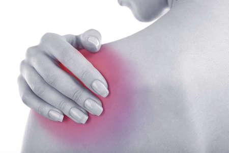 epaule douleur: Jeune fille avec douleur � l'�paule close up