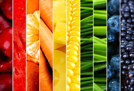 Collage with tasty fruits and vegetables Zdjęcie Seryjne