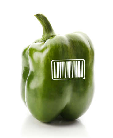 encode: Green pepper with barcode isolated on white background