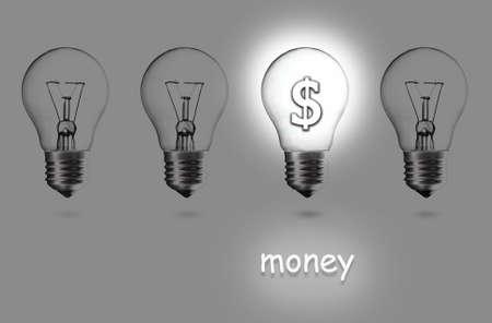 dollar signs: Light bulb with Dollar symbol on grey background Stock Photo